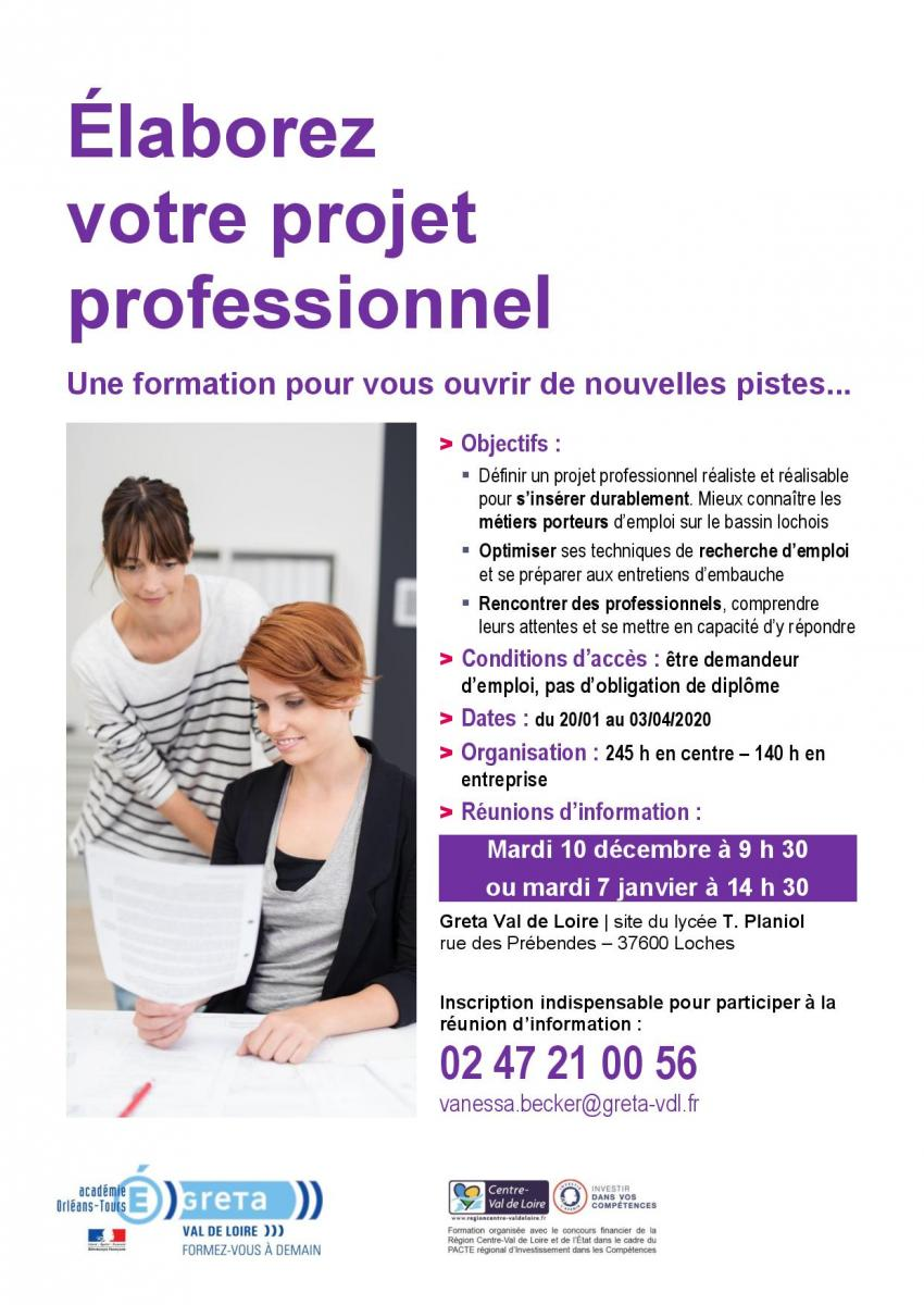 Elaborer projet professionnel Loches